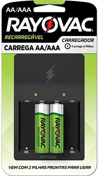 Carregador de Pilhas Recarregáveis AA ou AAA - Rayovac
