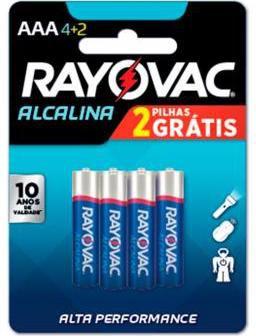 Pilha Alcalina AAA com 6 - Rayovac