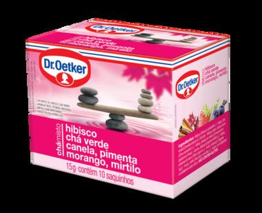 Chá Misto Hibisco, Chá Verde, Canela, Pimenta, Morango & Mirtilo 10 sachês - Dr. Oetker