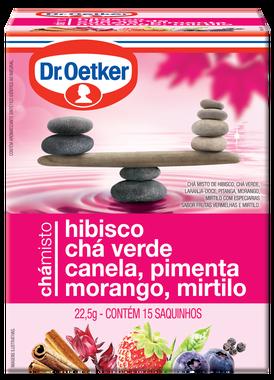 Chá Misto Hibisco, Chá Verde, Canela, Pimenta, Morango & Mirtilo 15 sachês - Dr. Oetker