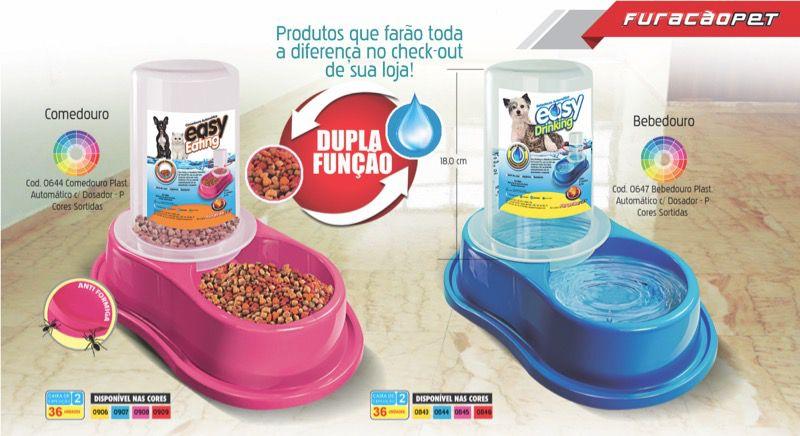 Comedouro Plástico Automático com Dosador Anti-Formiga - Furacão Pet