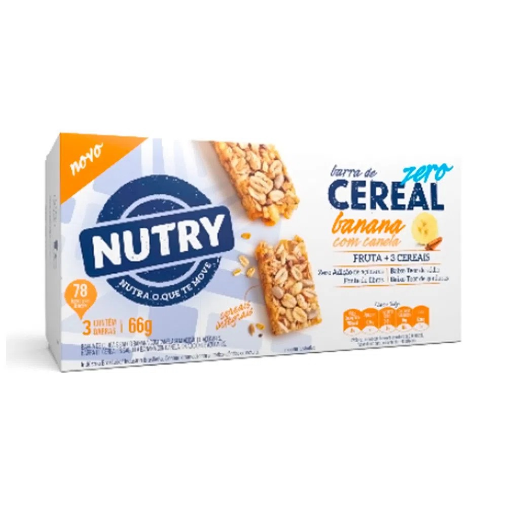 Kit c/ 24un Barra de Cereal Zero Banana com Canela 66g - Nutry