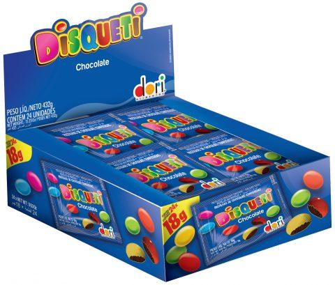 Kit c/ 02  Display c/ 24 Disqueti Chocolate Confeito 18g