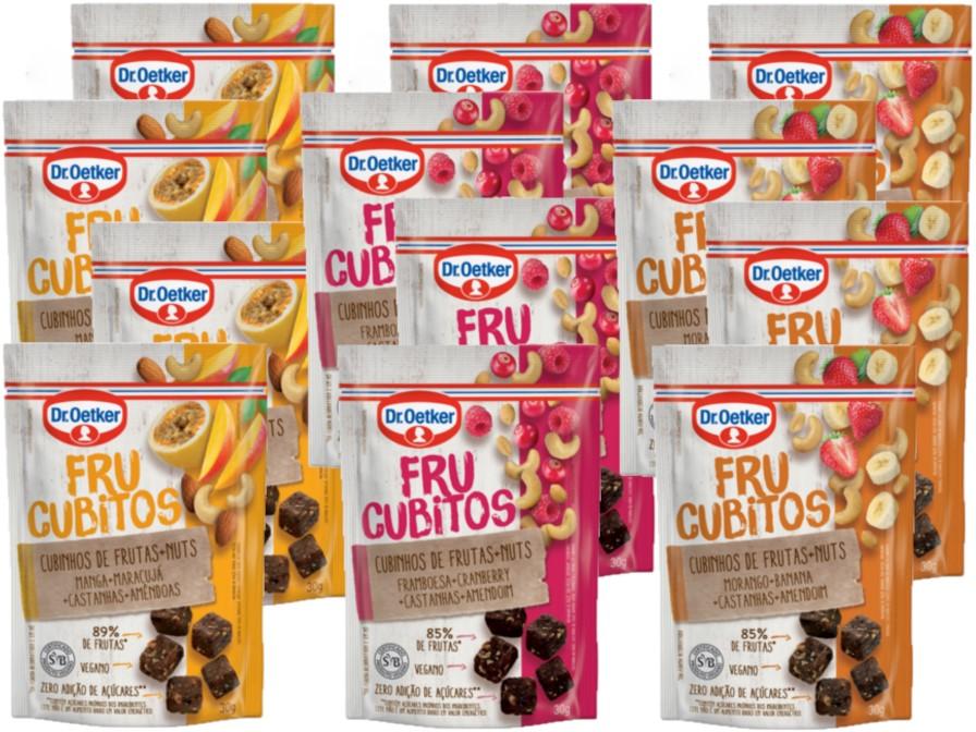 Kit c/ 12un Snacks de Frutas Vegano Frucubitos 30g - 3 Sabores