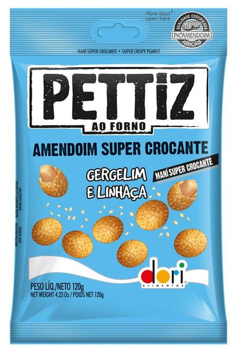 Kit c/ 15un Amendoim Pettiz Crocante Gergelim e Linhaça 120g - Dori