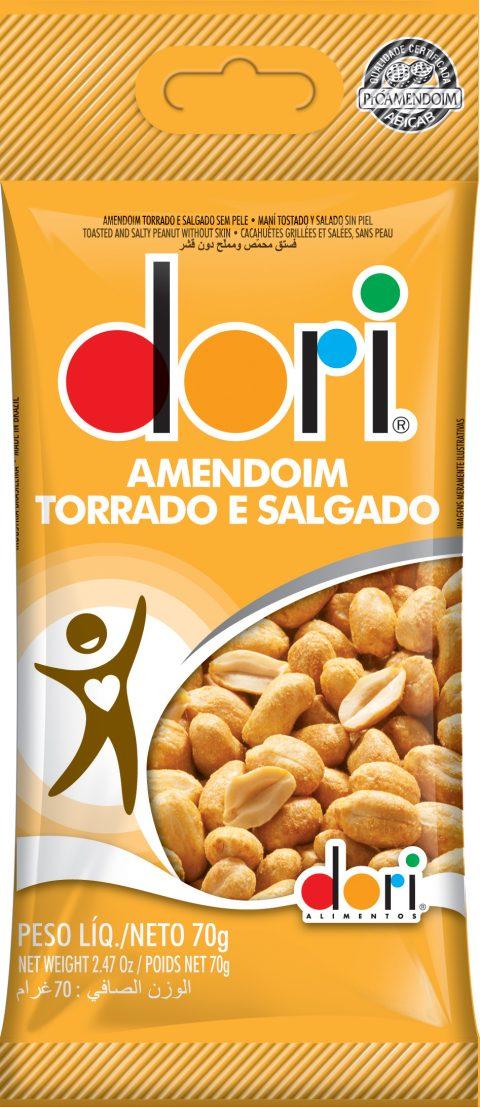 Kit c/15un Amendoim Torrado Salgado Sem Pele 70g - Dori