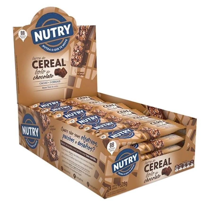 Kit c/3 Display Barra de Cereal Bolo de Chocolate com 24 unidades - Nutry