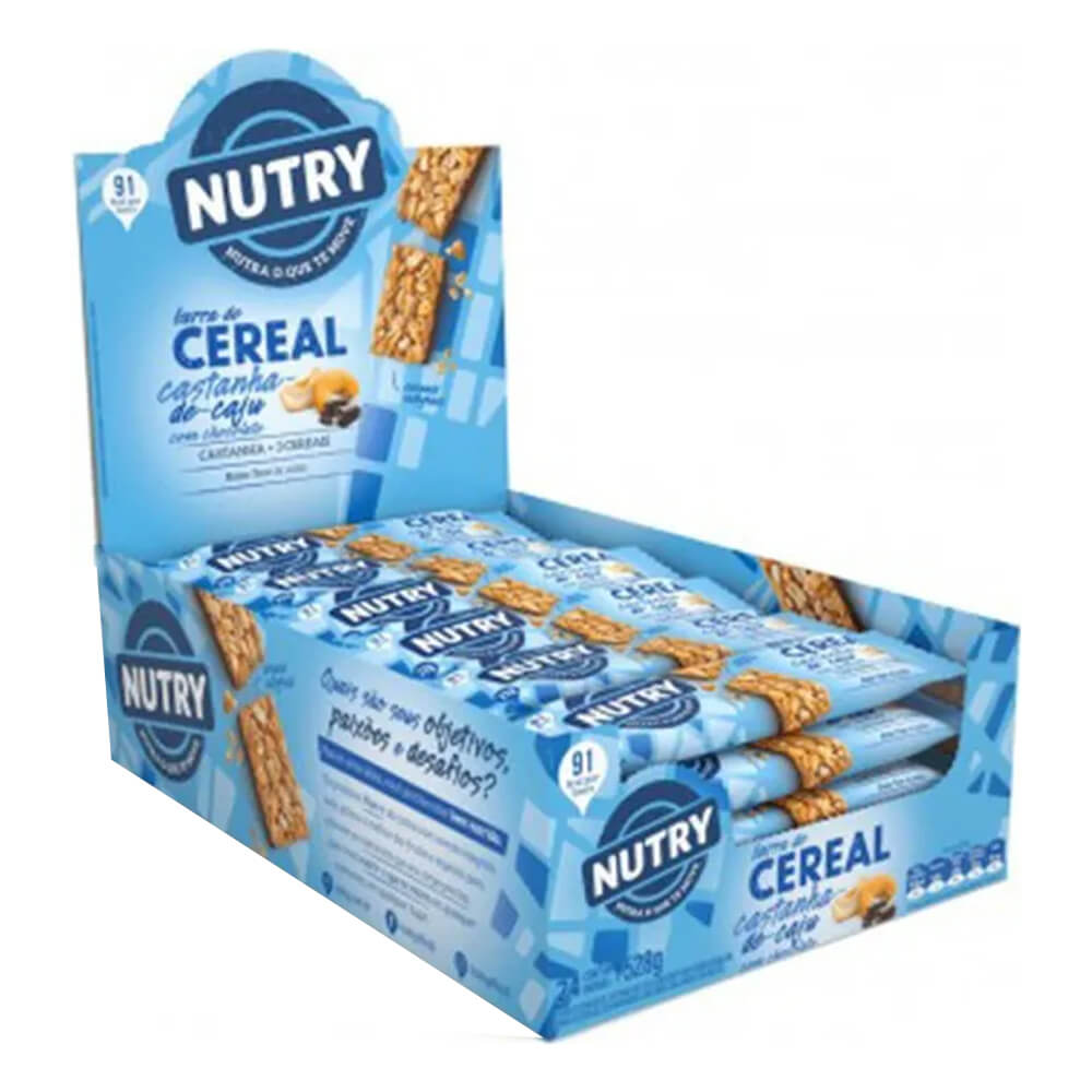 Kit c/3 Display Barra de Cereal Castanha-de-Caju com Chocolate com 24 unidades - Nutry