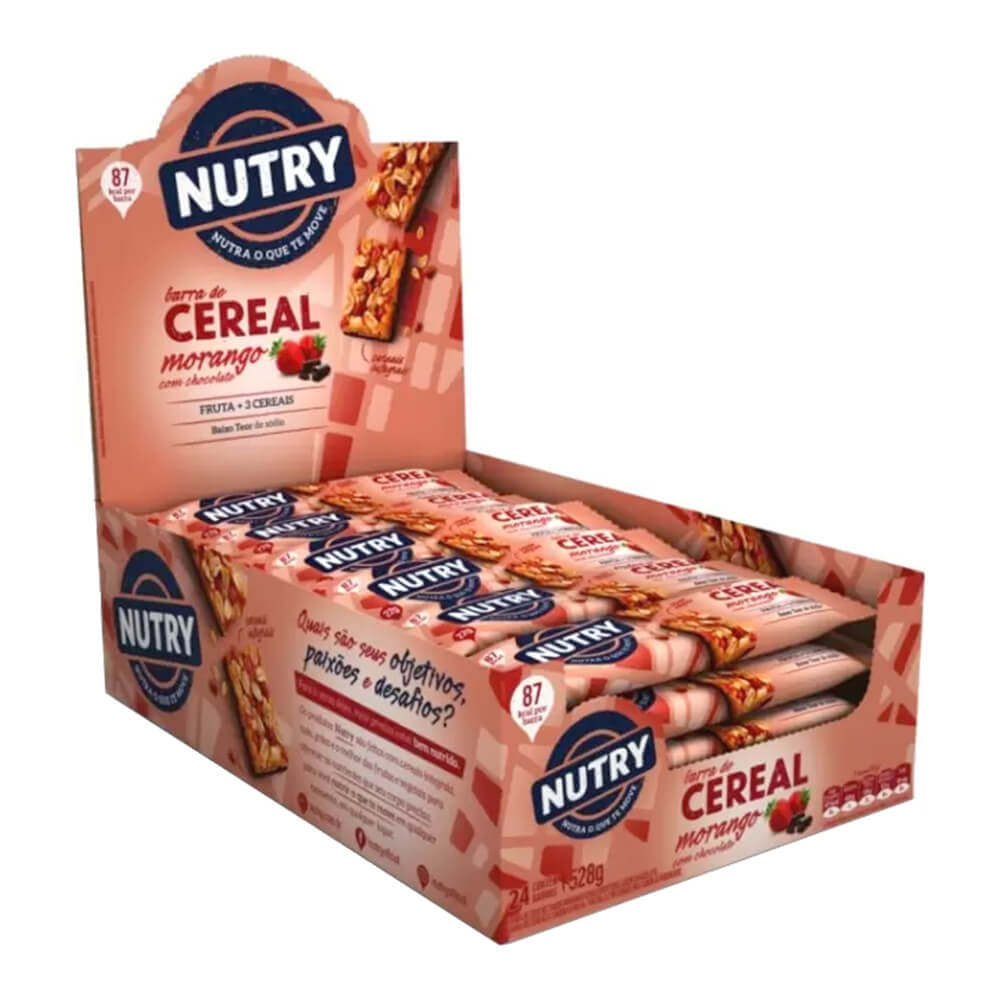 Kit c/3 Display Barra de Cereal Morango com Chocolate com 24 unidades - Nutry
