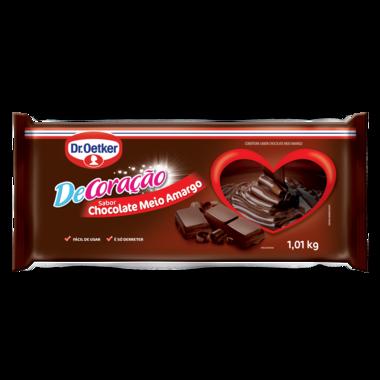 Kit c/ 03un  Cobertura Barra Chocolate meio amargo 1,01kg