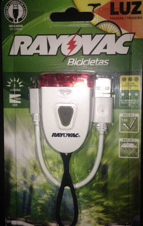 Lanterna Bicicleta Traseira Recaregável - Rayovac