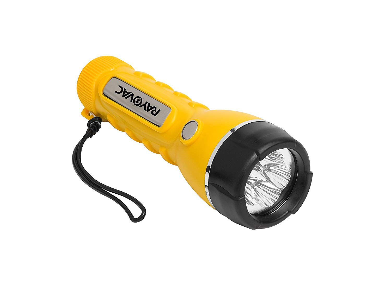 Lanterna Total Amarela 5 LEDs com 2 Pilhas D - Rayovac