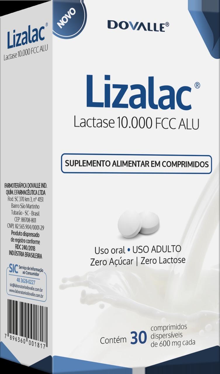 Lizalac 10000 FCC ALU c/ 30 Comprimidos 600mg