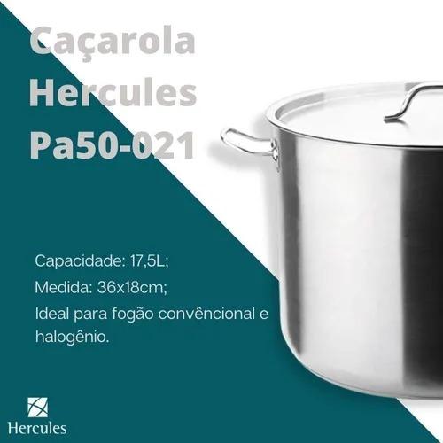 Caçarola Hercules Inox c/ Tampa 36x18cm 17,5l  Pa50-021