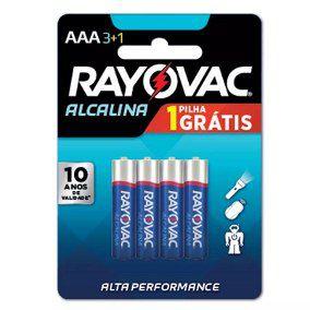 Pilha Alcalina AA com 4 - Rayovac