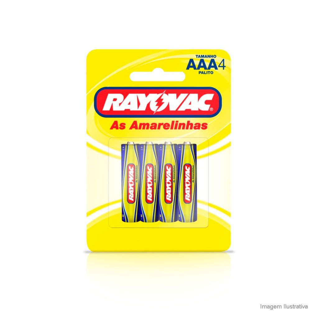 Pilha de Zinco AAA com 4 - Rayovac