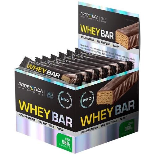 Whey Bar 24un - Coco - Probiótica