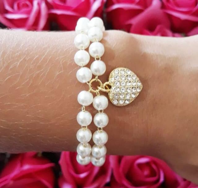 10 Pulseiras Madrinha Com Pérolas E Coração Folheado A Ouro