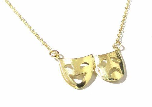 120 Colar Teatro Mascaras Comédia Drama Folheado A Ouro