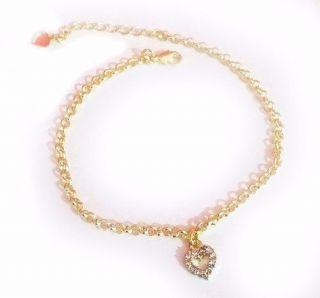 12 Pulseiras Coração Pequeno Cristal Vazado Folheada Ouro 18k