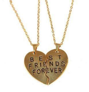 2 Colares Corações Amizade Best Friends Folheado A Ouro 18k