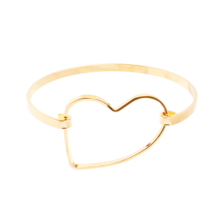 Bracelete com design de aro retangular com coração folheado em ouro 18k