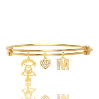 Bracelete Com Pingente Menina E Inicial Folheado A Ouro