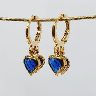 Brinco argolinha coração azul royal folheado a ouro 18 k
