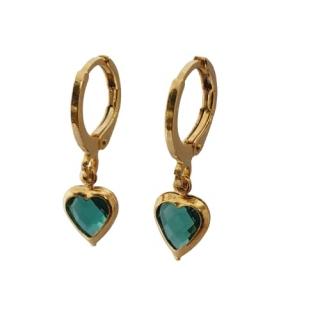 Brinco argolinha coração verde folheado a ouro 18 k