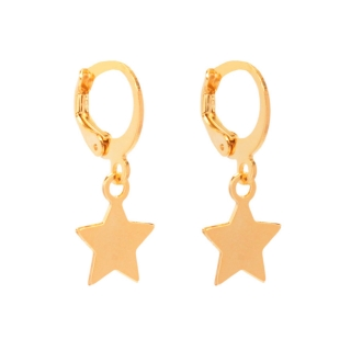 Brinco Argolinha Pequena Estrela Folheado A Ouro 18k
