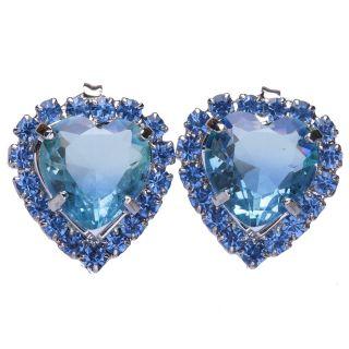 Brinco de Coração Com Pedra e Cristais Azul Folheado A Metalico