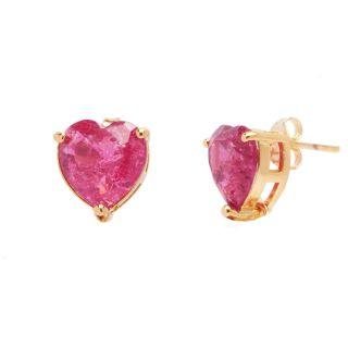 Brinco de Coração Pedra Fusion Pink Folheado A Ouro