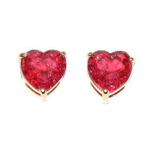 Brinco de Coração Pedra Fusion Pink Folheado Ouro