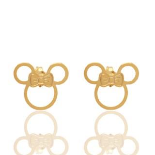 Brinco Disney Minnie Mouse Folheado A Ouro 18k