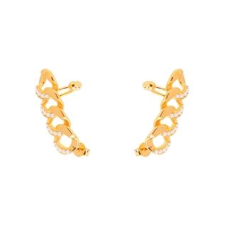 Brinco Ear Cuff Corrente Zircônia folheado em ouro 18k