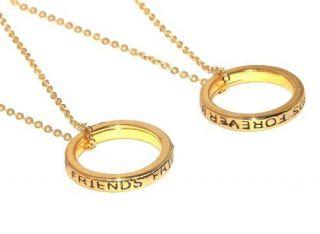 Colar Amizade Best Friends Forever Anéis Folheado Ouro B23