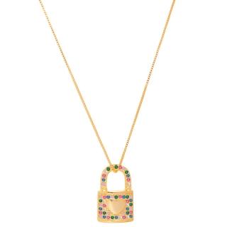Colar Cadeado Cravejado zircônias coloridas folheado em ouro 18k