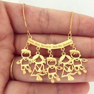 Colar Canga Personalizada Com 5 Nome Filhos Netos Folheado A Ouro