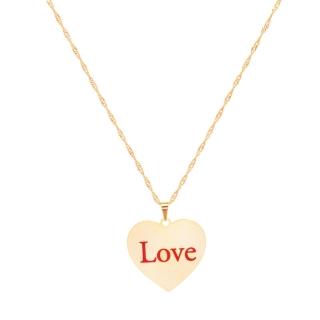 Colar Coração Love  Folheado A Ouro 18K