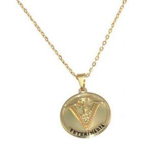 Colar Cordão Medalha Veterinaria Folheado Ouro 18k