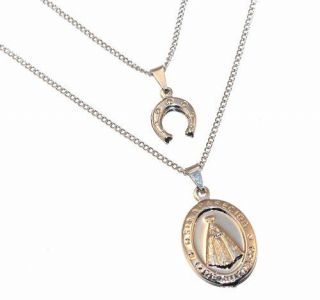 Colar Duplo Ferradura E Medalha De Aparecida Inox