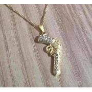 Colar E Pingente Policial Revolver Arma Folheada Ouro