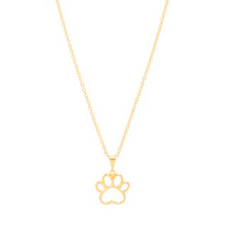 Colar Gargantilha com pingente pata cachorro vazado folheado em ouro 18k