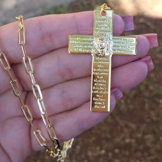 Colar Masculino Religioso Corrente Cartier Folheado A Ouro