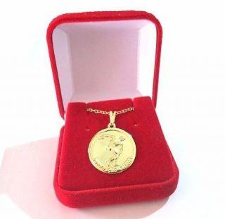 Colar Medalha De Educação Física Folheado A Ouro + Caixinha