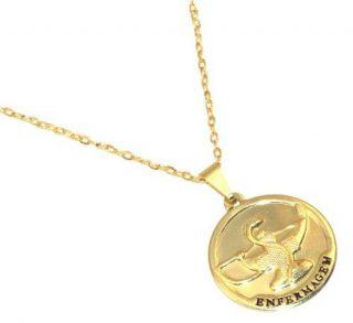 Colar Medalha Profissão Enfermagem Folheado Ouro 18k