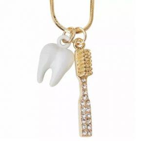 Colar Odontologia Dente Escova Folheado