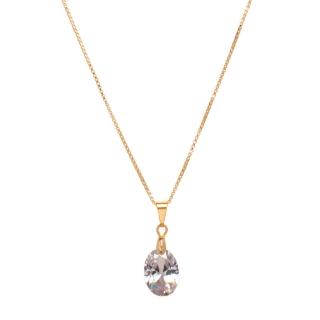 Colar Pingente Pedra Cristal Folheado A ouro 18k