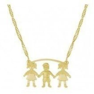 Colar Tres Crianças Duas Meninas Um Menino Folheado A Ouro