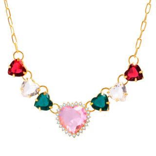 Coleira Choker com corações de pedras coloridas e zircônias folheado a ouro 18k